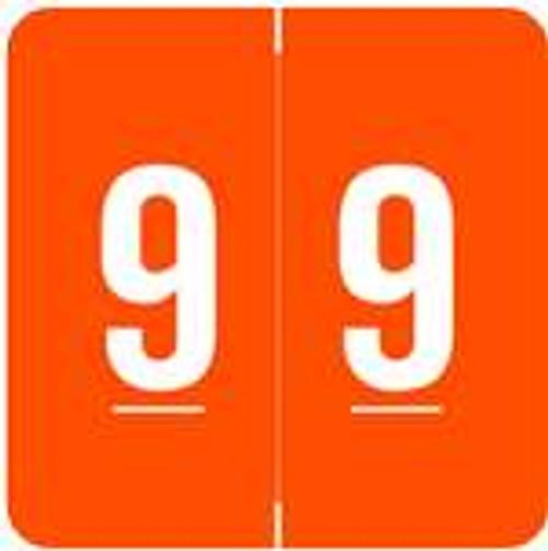 ACME Numeric Labels - ACNM Series (Rolls) - 9 - Orange