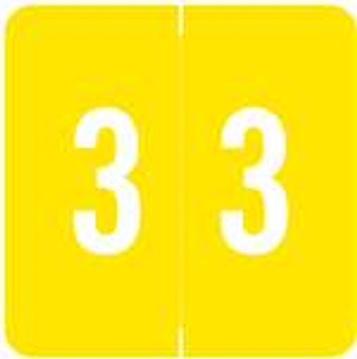 ACME Numeric Labels - ACNM Series (Rolls) - 3 - Yellow