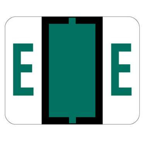 TAB Alphabetic Label (Sheet of 50) - E - Dark Green - A1286 Series