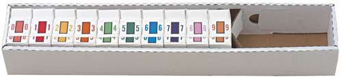 TAB Numeric Labels - 1282 Series (Rolls) - 0-9 Set with tray
