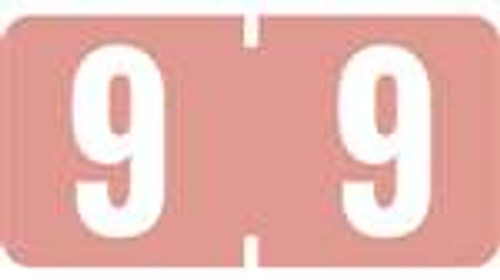 TAB Numeric Labels - 1280 Series (Rolls) - 9 - Pink