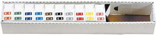 """TAB Numeric Labels - 1280 Series (Rolls) - 0-9 Set with tray - 1/2"""" H x 1"""" W - 1000/Roll"""