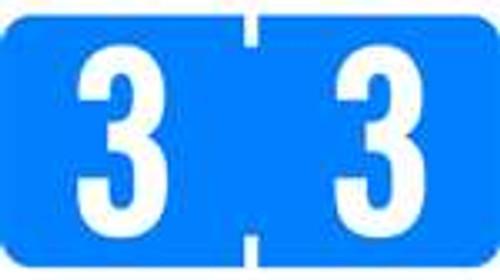 TAB Numeric Labels - 1280 Series (Rolls) - 3 -  Lt. Blue