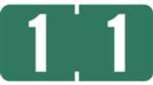 TAB Numeric Labels - 1280 Series (Rolls) - 1 - Dk. Green