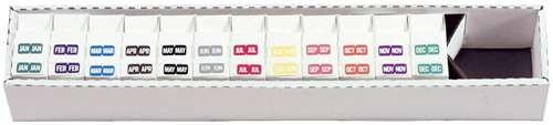 TAB Month Designation Labels (Rolls)- JAN-DEC Complete Set - 12 Rolls of 1000 - A1279-50-T3
