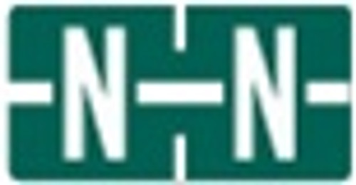 TAB Alphabetic Labels - 1278 Series (Rolls) N- Dk. Green