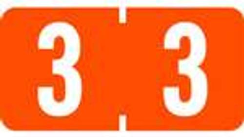 TAB Numeric Labels - 1277 Series (Rolls) - 3 - Dk. Orange