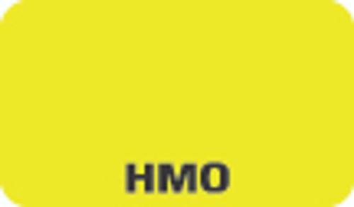 """HMO"" Label - Fl. Chartreuse - 1 1/2"" x 7/8"" - Box of 250"