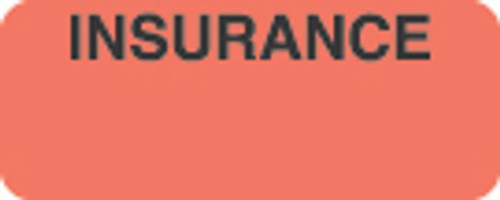 """Insurance"" Label - Fl. Red - 1 7/8"" x 3/4"" - Box of 500"