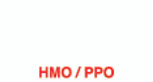 """HMO/PPO"" Label - White/Red - 1 5/8"" x 7/8"" - Box of 500"