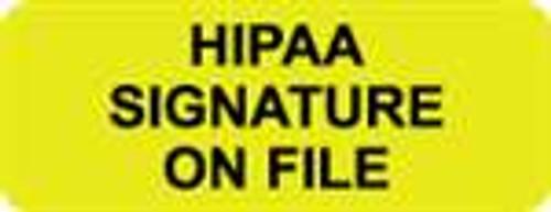 """HIPAA Signature On File"" Label - Fl. Yellow & Black - 2-1/4"" x 7/8"" - 420/Box"