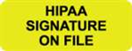 """HIPAA Signature On File"" Label - Fl. Yellow & Black - 2-1/4"" x 7/8"" - 420/Box"