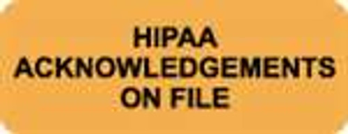 """HIPAA Acknowledgements On File"" Label - Fl. Orange - 2-1/4"" x 7/8"" - 420/Box"