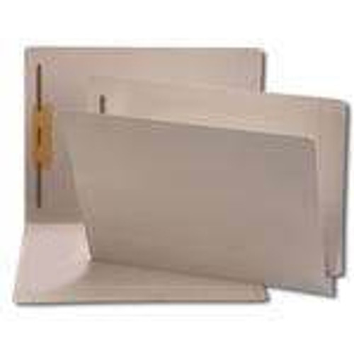 End Tab File Folder w/ 1 Fastener in Position 1 (Top Right) - Gray - Legal - 11 pt - Reinforced Full End Tab - 100/Box
