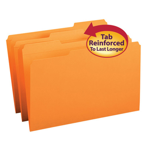 Top Tab File Folder With Fasteners Positions 1 and 3, Orange, Legal Size, 11 pt, Reinforced Tab, 1/3 Cut Assorted, Box of 100