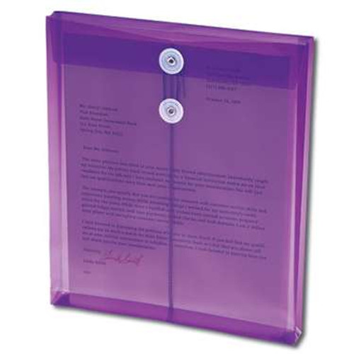 "Smead Poly Envelope, 1-1/4"" Expansion, String-Tie Closure, Top Load, Letter Size, Purple, 5 per Pack (89544) - 24 Packs"