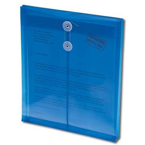 "Smead Poly Envelope, 1-1/4"" Expansion, String-Tie Closure, Top Load, Letter Size, Blue, 5 per Pack (89542) - 24 Packs"