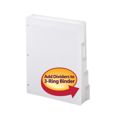 Smead Three-Ring Binder Index Dividers, 1/5-Cut Tabs, Letter Size, White, 20 Sets per box  (89415)