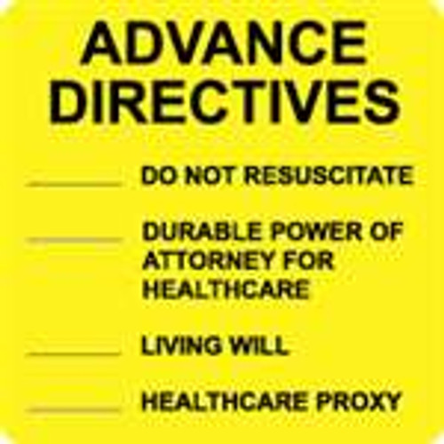 """Advance Directives"" Label - Yellow - 2-1/2"" x 2-1/2"" - 390 Labels/Box"
