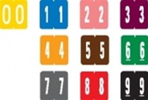 """GBS Numeric Label - 0 - Yellow - Mini Label 1"""" H x 1-1/4"""" W - 500 per box"""