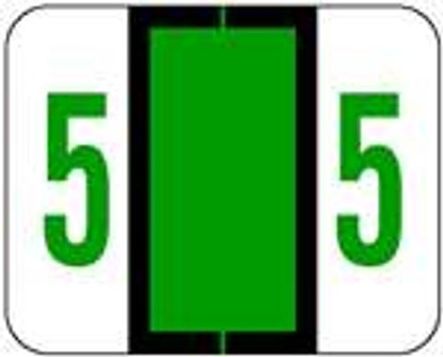 TAB Numeric Labels - 1282 Series (Rolls) - 5 - Dk. Green