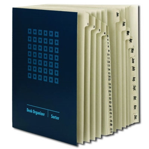 Smead Desk File/Sorter, Daily (1-31) and Monthly (Jan.-Dec.), 43 Dividers, Letter Size, Blue (89235) - Total of 2