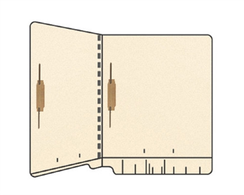 End Tab File Folder w/ Fasteners in Positions 5 & 7 - 14 Pt. Manila - Letter Size - Reinforced Full End Tab - 250/Carton