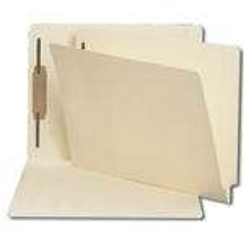 End Tab File Folder w/ Fastener in Pos 1 - Manila - Letter Size - 14 pt - Reinforced Full End Tab - 50/Box