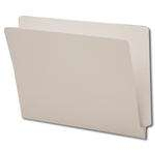 End Tab File Folder - Gray - Letter Size - 14 pt - Reinforced Tab - Full End Tab - Box of 50