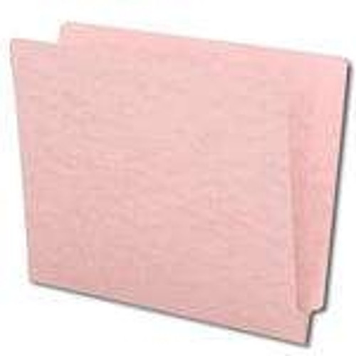 End Tab File Folder With Fasteners in Positions 3 & 5 - Pink - Letter Size - 14 pt Stock with Reinforced Full End Tab - 250/Carton
