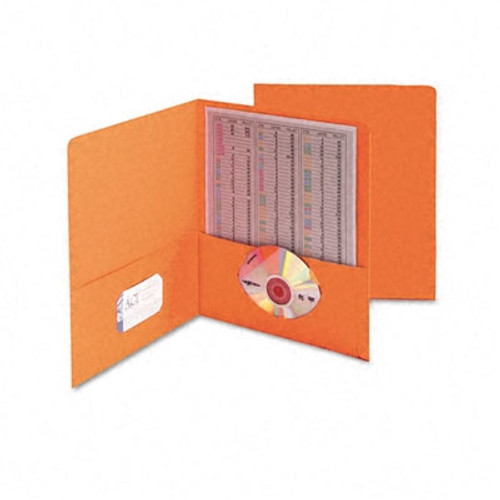 Smead Two-Pocket Heavyweight Folder, Up to 100 Sheets, Letter Size, Orange, 25 per Box (87858)