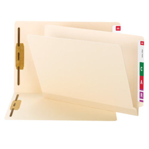 Smead Compatible End Tab File Folder w/ Fasteners in Positions 1 & 3 - 11 Pt. Manila - Letter Size - Reinforced Tab - 50/Box