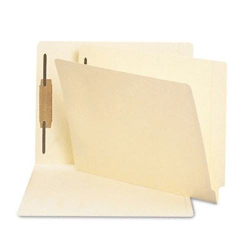 Smead Compatible End Tab File Folder with Fastener in Position 1 -  Letter Size - 11 pt. Manila with Reinforced Tab - 100/Box