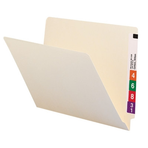"Smead Compatible End Tab Folder - Manila - Letter Size - 11 pt - 9.5"" - Single Ply - 100/Box"