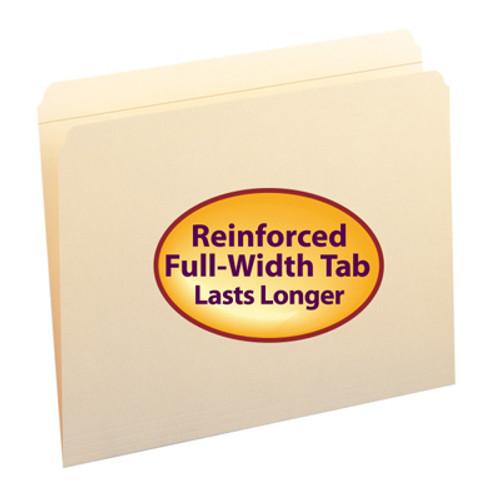 Top Tab File Folder w/ Fastener - Position 1 & 3 - Manila - Letter - 11 pt - Reinforced Straight Cut Tab - 50/Box