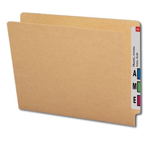 Barkley Compatible Kraft End Tab Folder, Letter, 11 Pt. Reinforced, Full-Cut with Fasteners 1 & 3, Box of 100