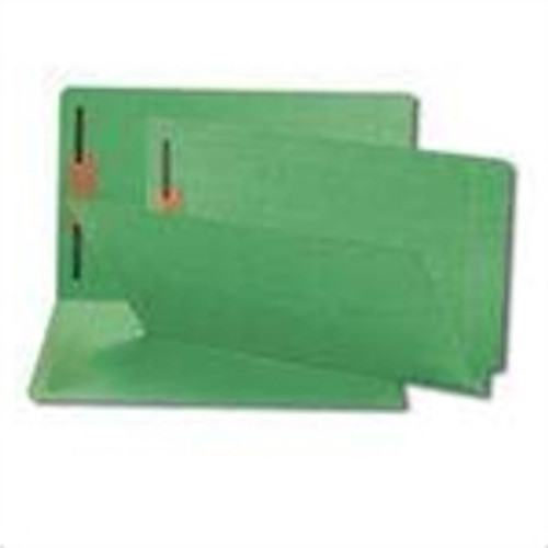 End Tab File Folder w/ Fasteners - Position 1 Only - Green - Letter - 11 pt - Reinforced Full End Tab - 100/Box