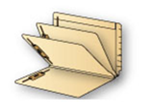 """Barkley End Tab Manila Folders w/ Fasteners in Pos. 1 & 3 - 2 Dividers - 14 PT. Manila - Letter Size  - 3"""" Expansion - Carton of 75"""
