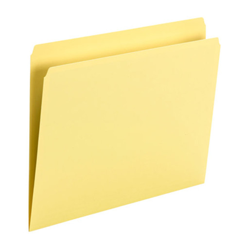 Yellow Top Tab File Folder With Fastener in Position 1 -  Letter Size - 11 pt Colored Stock - Reinforced Straight Cut Tab - 100/Box