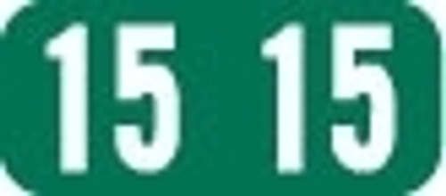 TAB Yearband Label (Rolls of 500) - 2015 - Dark Green - A1287 Series