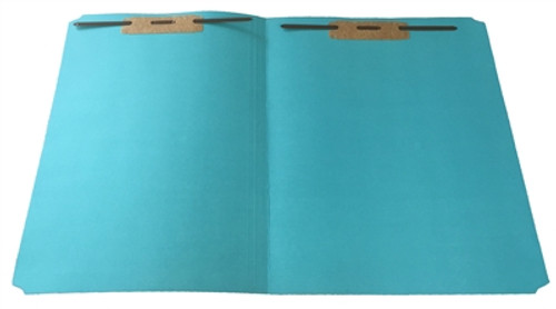Top Tab File Folder w/ Fasteners in Pos 1 & 3 - Light Blue - Letter Size - 11 pt - Single Ply Straight Cut - Box of 100