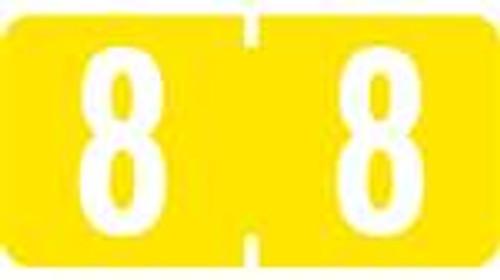 TAB Numeric Labels - 1280 Series (Rolls) - 8 - Yellow