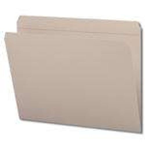 Top Tab File Folder w/ Fastener in Pos 1 - Gray - Letter Size - 11 pt - Single Ply Straight Cut Tab - 100/Box