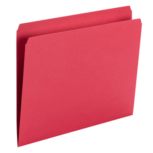 Red Top Tab File Folder With Fastener in Position 1 - Letter Size - 11 pt Red Colored Stock - Reinforced Straight Cut Tab - 100/Box