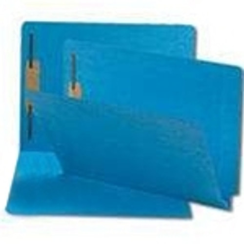 End Tab File Folder w/ Fasteners - Position 1 Only - Blue - Letter - 11 pt - Reinforced Full End Tab - 100/Box