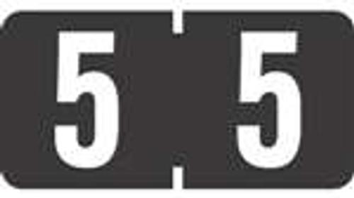 TAB Numeric Labels - 1280 Series (Rolls) - 5 - Black