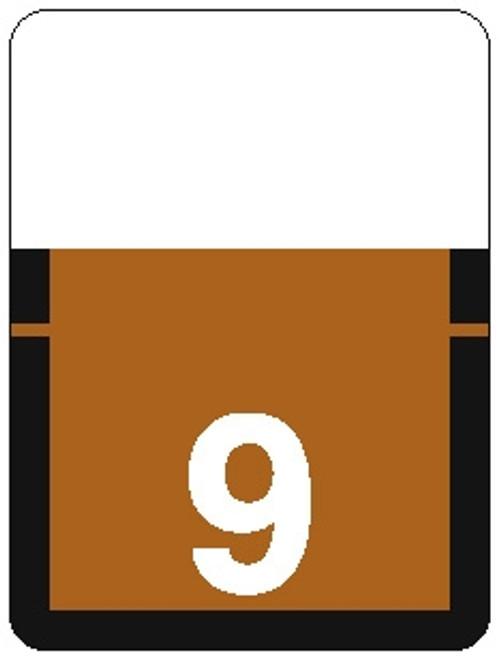 TAB Numeric Label - 1306 Series (Rolls) - 9 - Brown