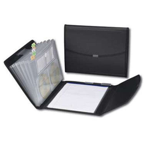 Smead Poly Pro Series II Pad Folio, 7-Pocket Expanding File, Letter Size, Black (85830) - Total of 12