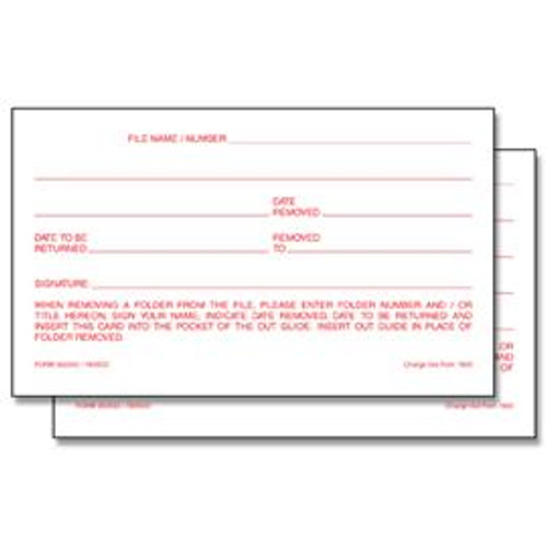 3X5 Outguide Charge Out Slips - 100 Slips Per Pad