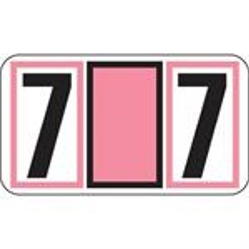JETER Numeric Label - 7700 Series (Rolls) - 7 - Pink